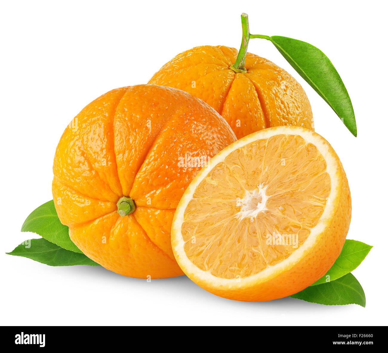 Two oranges isolated on white - Stock Image