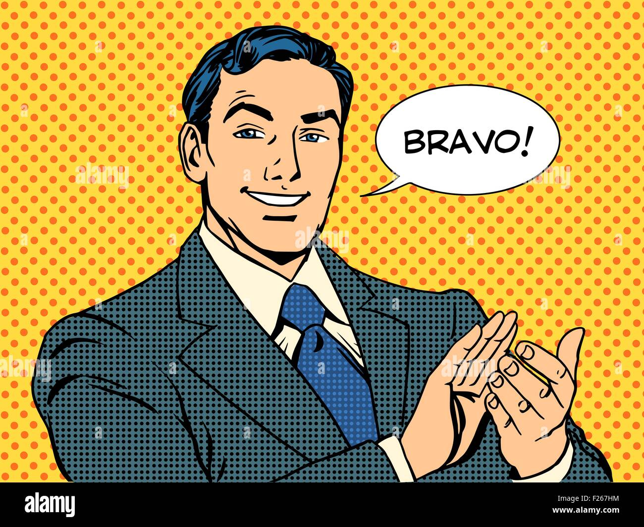 man applause Bravo concept of success - Stock Vector