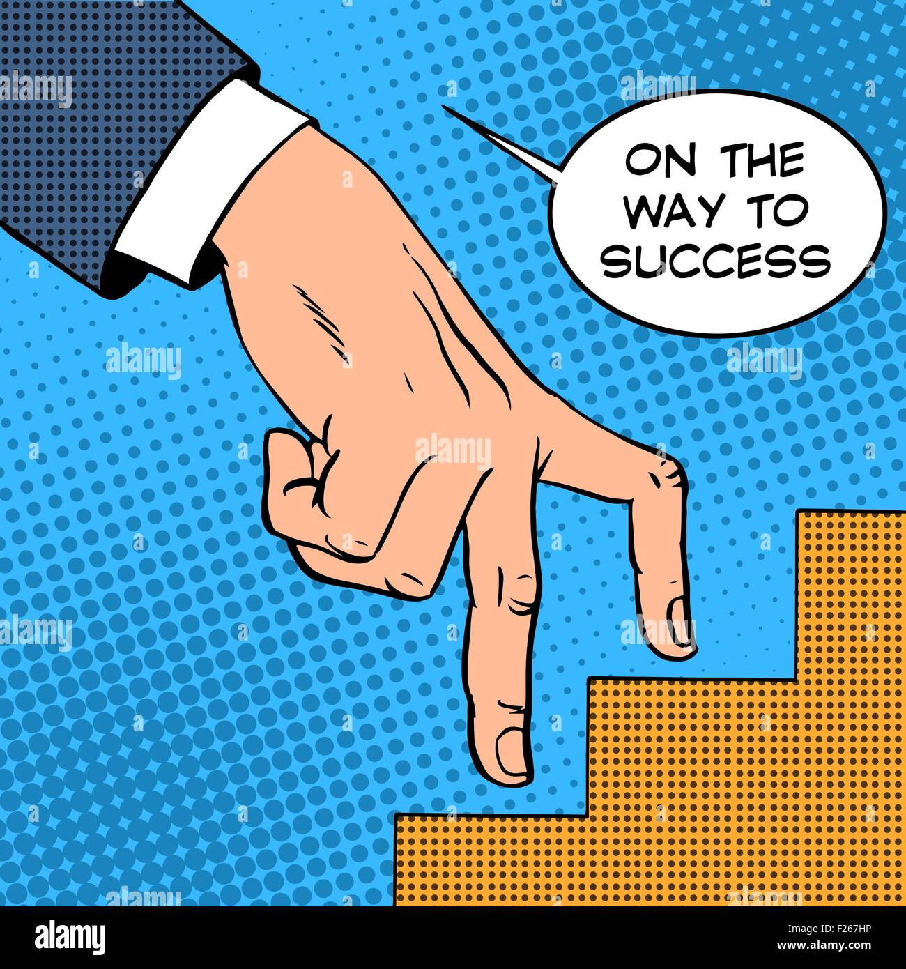 Up the ladder of success business concept businessman fingers - Stock Vector
