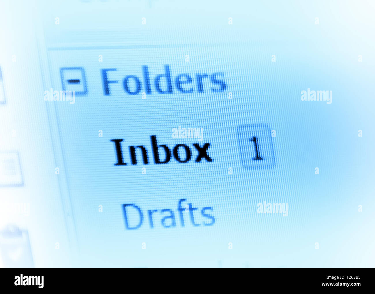 email inbox on monitor screen - Stock Image