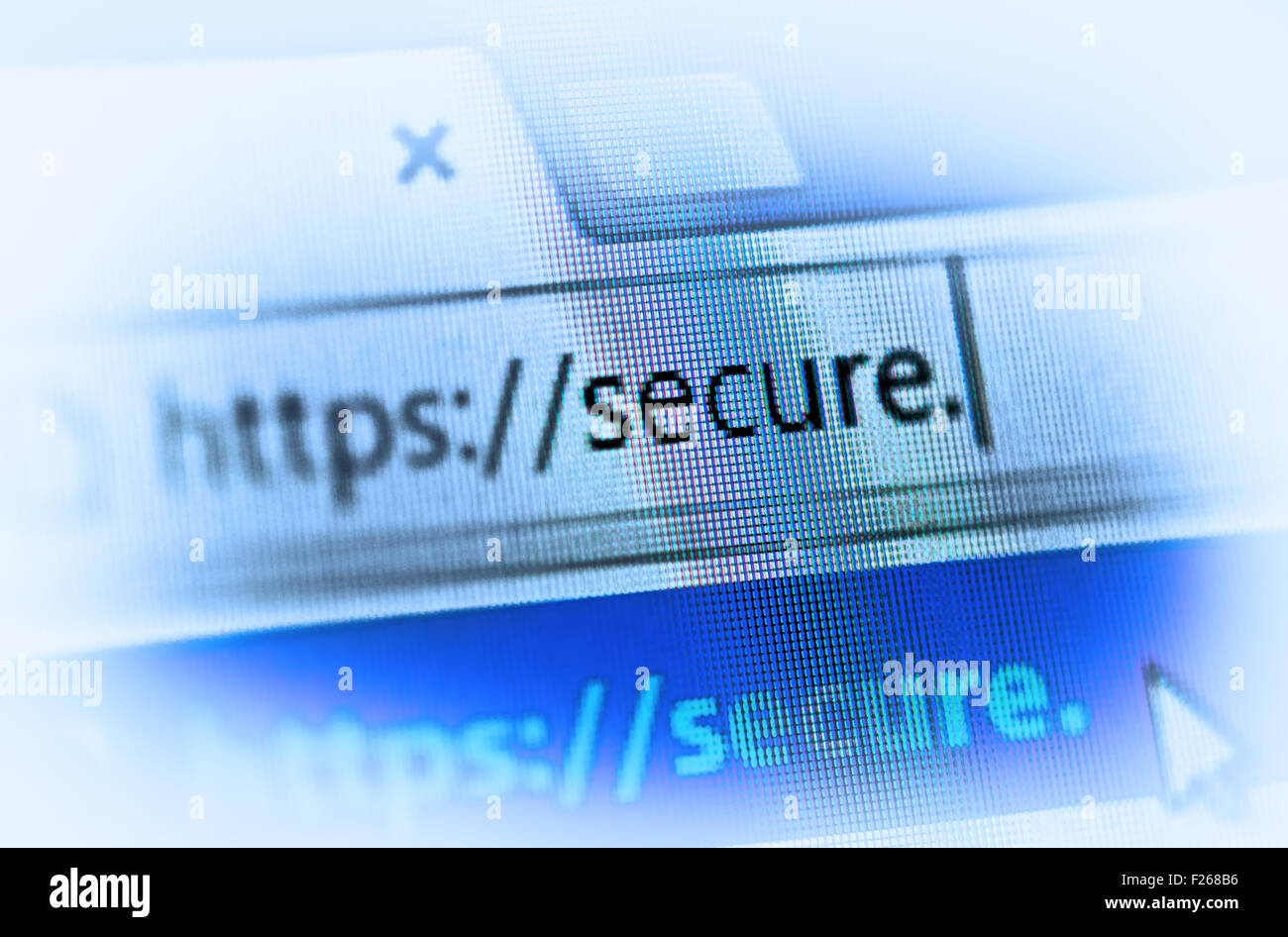 https on computer screen - internet security concept - Stock Image