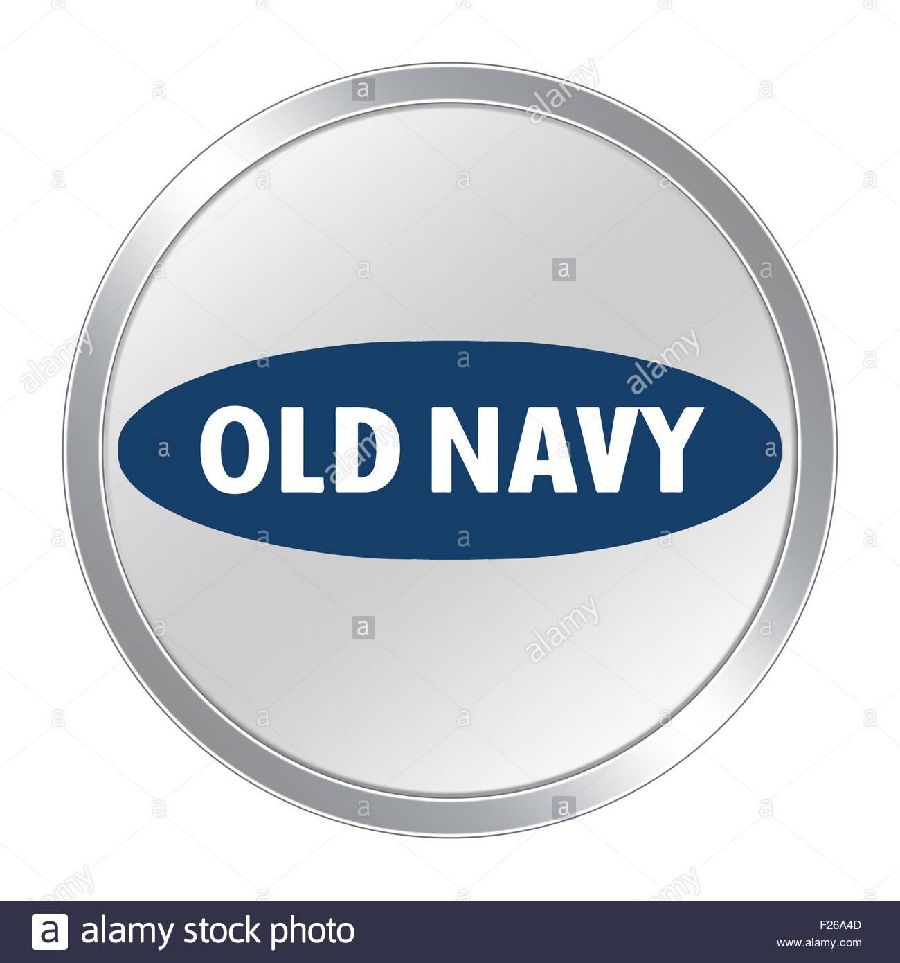 Old Navy logo icon button - Stock Image