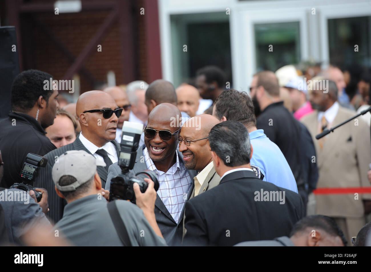 Philadelphia, Pennsylvania, USA. 12th Sep, 2015. Boxing Champion, BERNARD HOPKINS and Philadelphia Mayor, MICHAEL - Stock Image