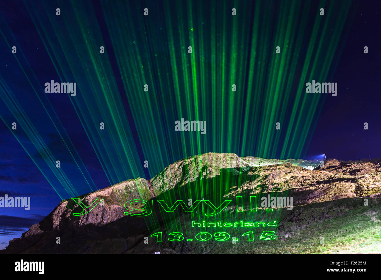 Aberystwyth, UK. 12th Sep, 2015. Y Gwyll / Hinterland being projected onto Aberystwyth Constitution Hill in preparation - Stock Image