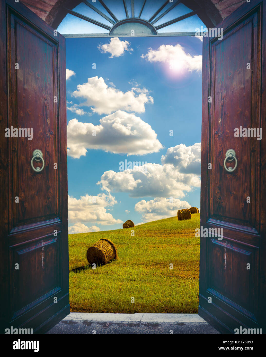 Old open door and rural landscape with haystacks & Old open door and rural landscape with haystacks Stock Photo ...