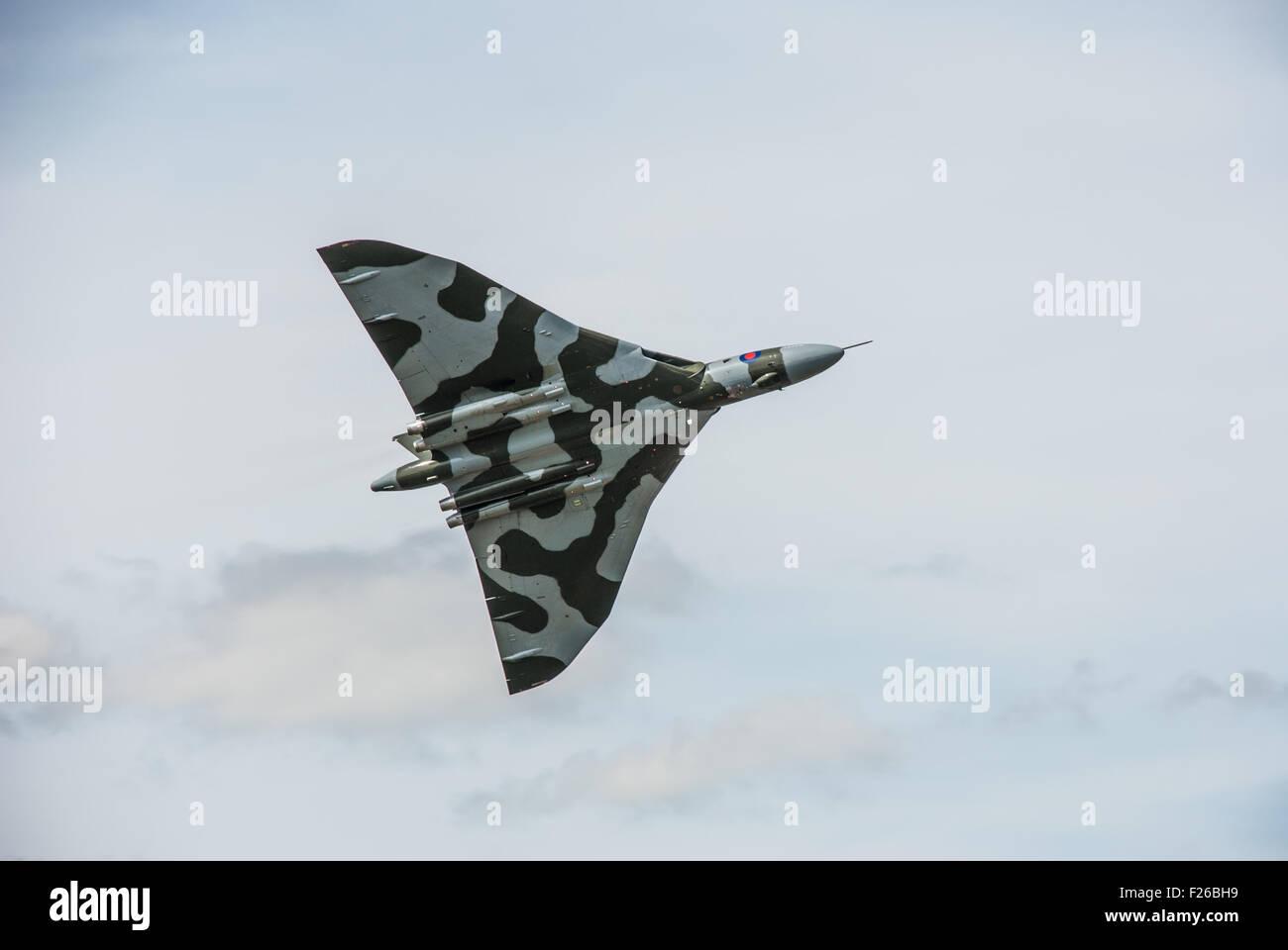Last Flying Vulcan Bomber XH558 RAF Fairford RIAT 2015 - Stock Image