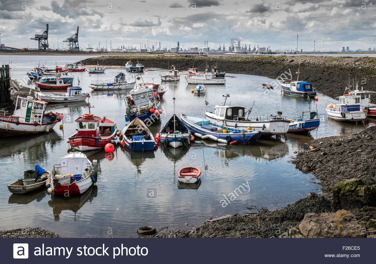 Boats in Paddy's Hole, South Gare, Teesmouth - Stock Image