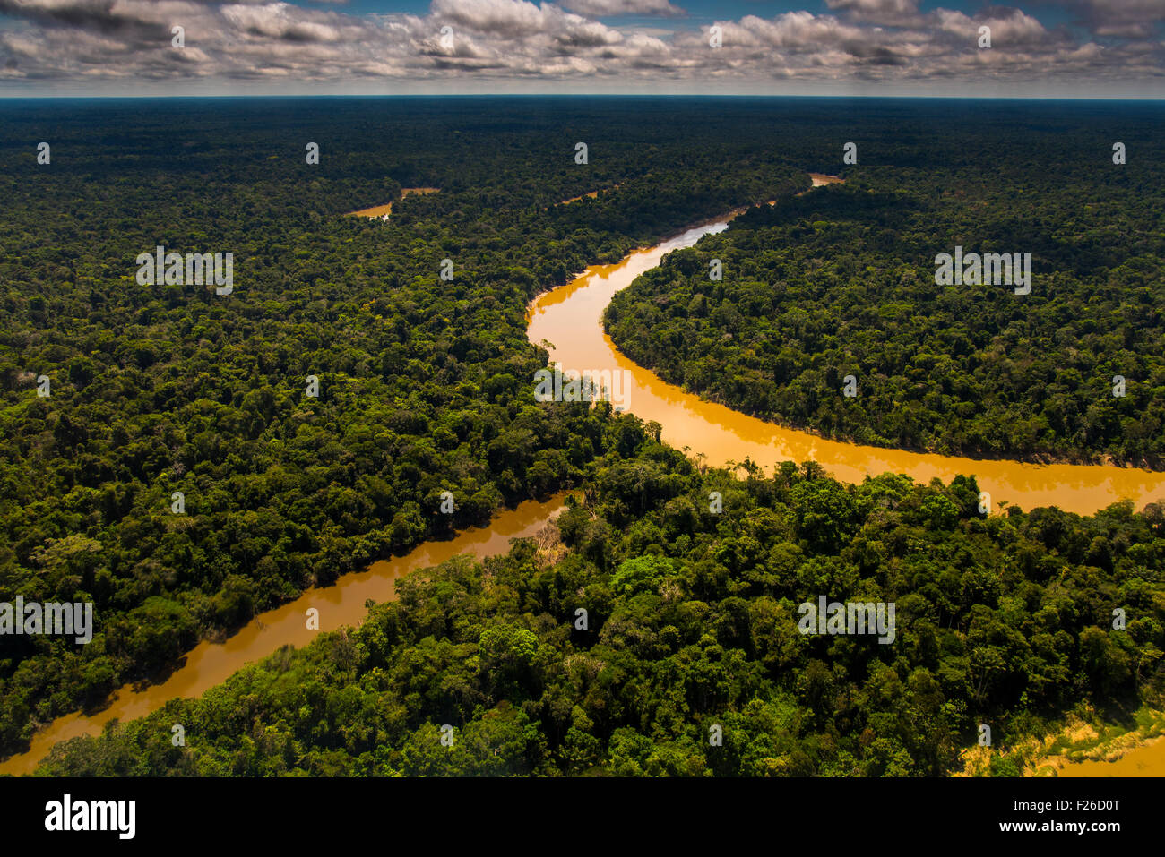 Rainforest aerial, Yavari-Mirin River, oxbow lake and primary forest, Amazon Region, Peru - Stock Image