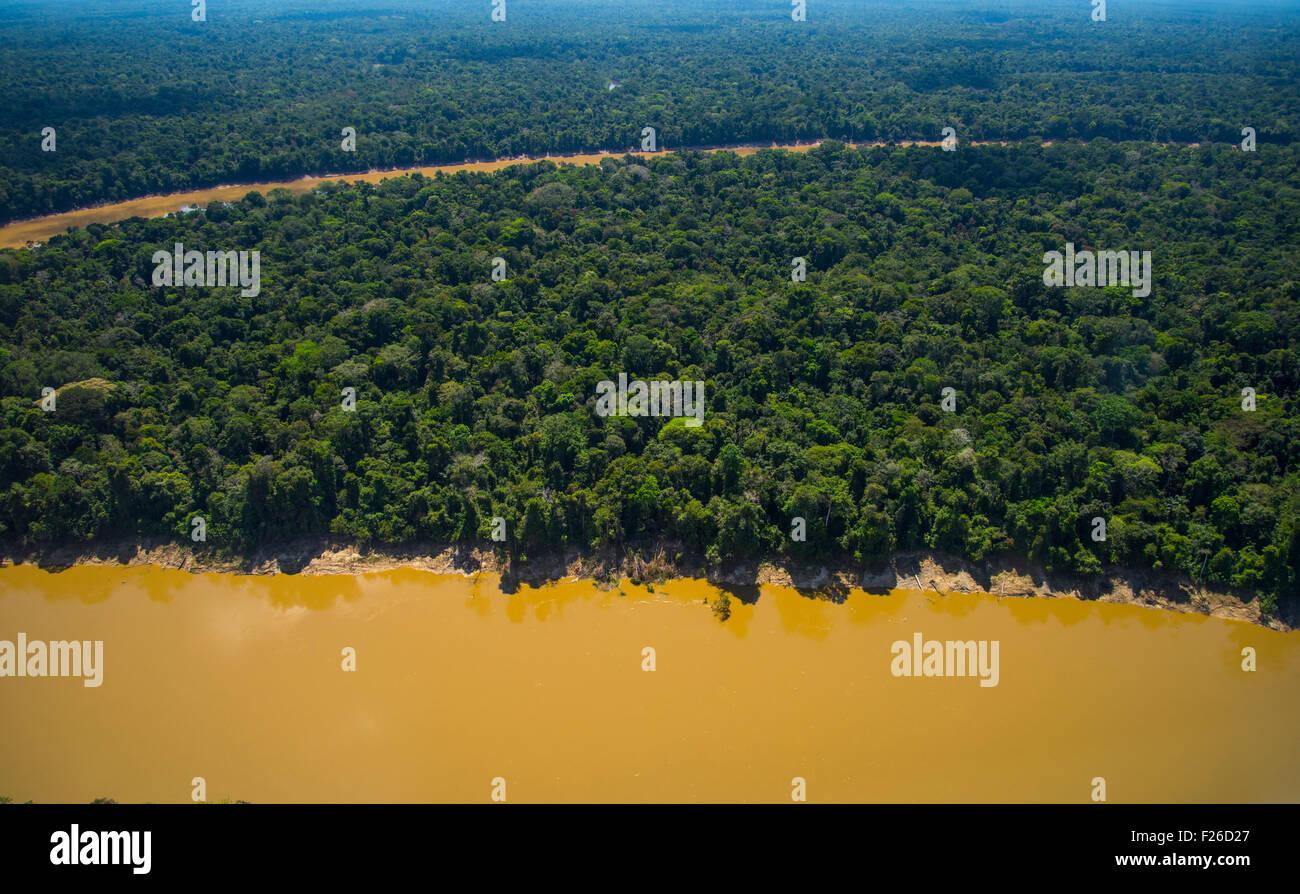 Rainforest aerial, Yavari River and primary forest, Amazon Region, Peru - Stock Image