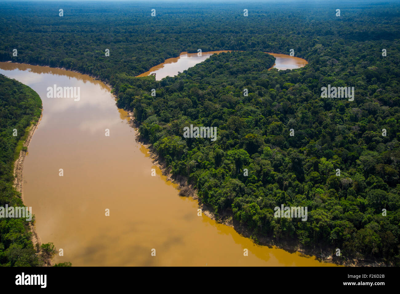 Rainforest aerial, Yavari River and oxbow lake and primary Amazonian forest, Brazil on left bank, Peru on right - Stock Image