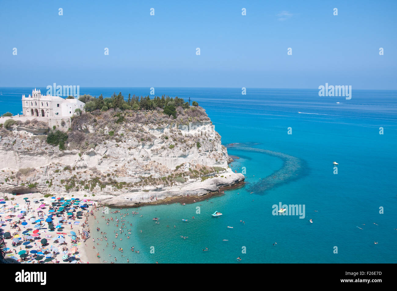 Top view of the church located on the island of Tropea, Calabria Italy Stock Photo