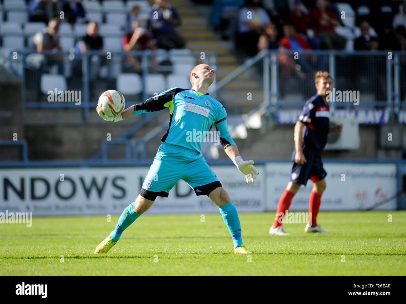 Dorchester, England. 12th September 2015. Goalkepper Alan Walker-Harris in action for Dorchester in The Emirates - Stock Image