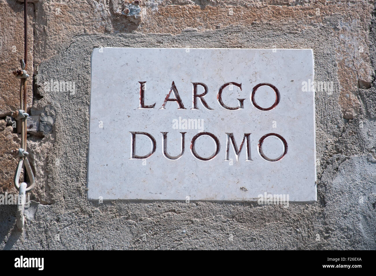 Indication of a large cathedral road Tropea Calabria Italy Stock Photo