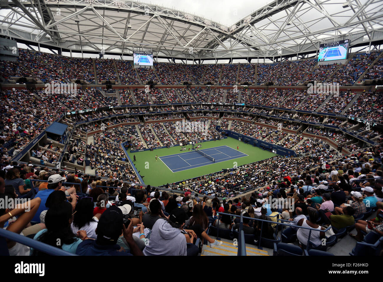 New York, USA. 12th Sep, 2015. View of the inside of Arthur Ashe Stadium during the women's final of the U.S. - Stock Image