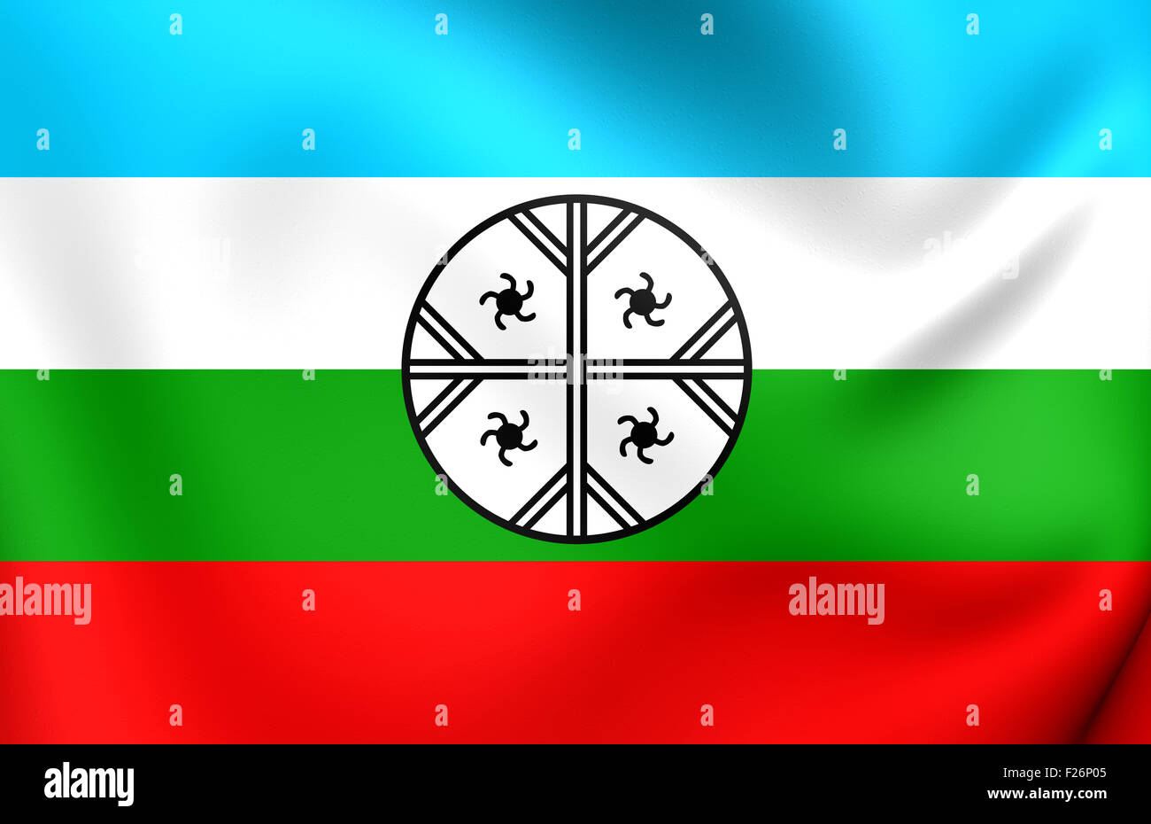 Mapuche Flag of Huenteche Territory. Close Up. Stock Photo