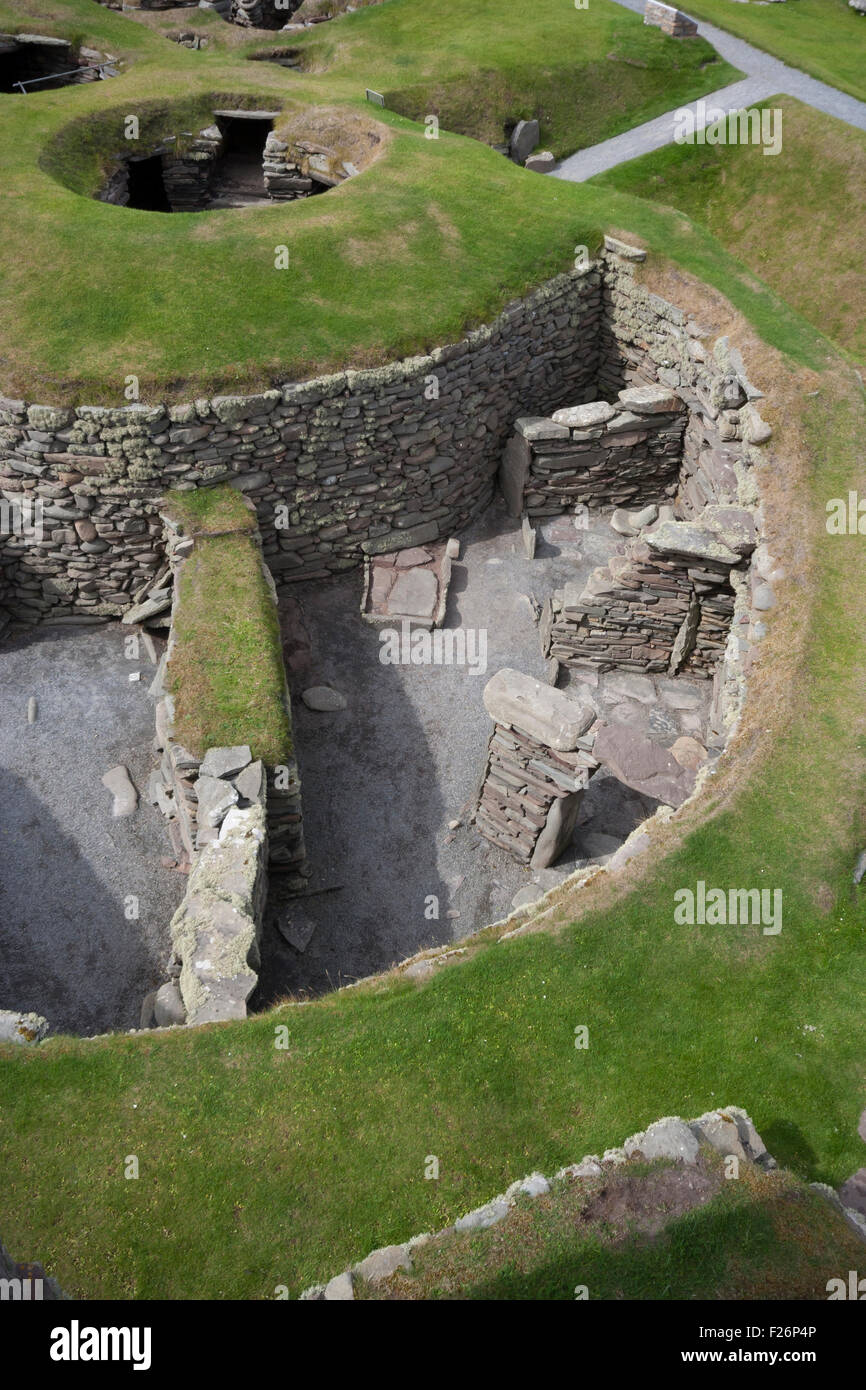 Jarlshof Prehistoric and Norse Settlement, Shetland, Northern Isles, Scotland, UK - Stock Image