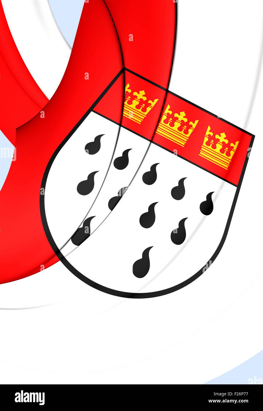 3D Flag of Cologne City, Germany. Close Up. Stock Photo