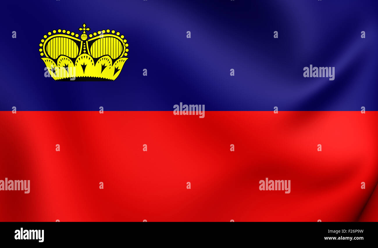 3D Flag of the Liechtenstein. Close Up. Stock Photo
