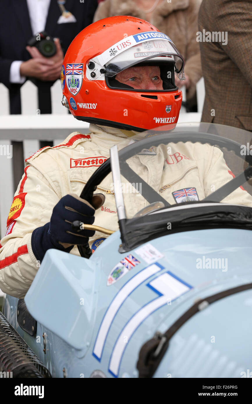 Goodwood, Sussex, UK. 12th Sep, 2015. Barrie 'Whizzo' Williams pictured at the Goodwood Revival, Chichester, West Sussex.  The Goodwood Revival is a three-day motoring festival held each September at Goodwood Motor Circuit for road racing cars and motorcycle that would have competed during the circuit's original period—1948–1966. Credit:  Oliver Dixon/Alamy Live News Stock Photo