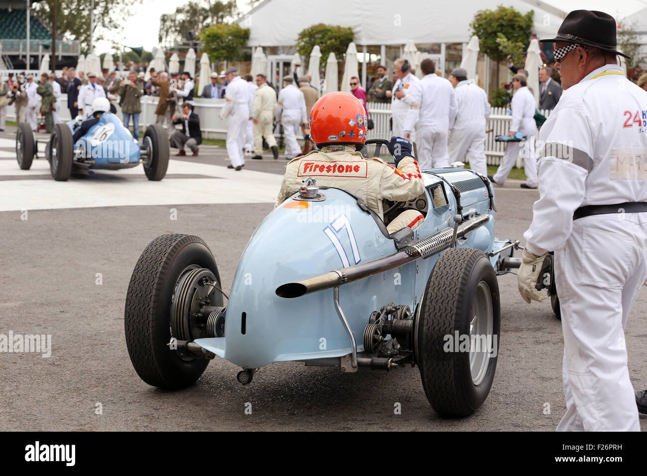 Goodwood, Sussex, UK. 12th Sep, 2015. Barrie 'Whizzo' Williams pictured at the Goodwood Revival, Chichester, West Stock Photo