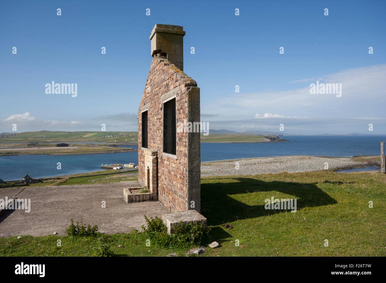 Half demolished house, Sumburgh, Shetland, Scotland, UK - Stock Image