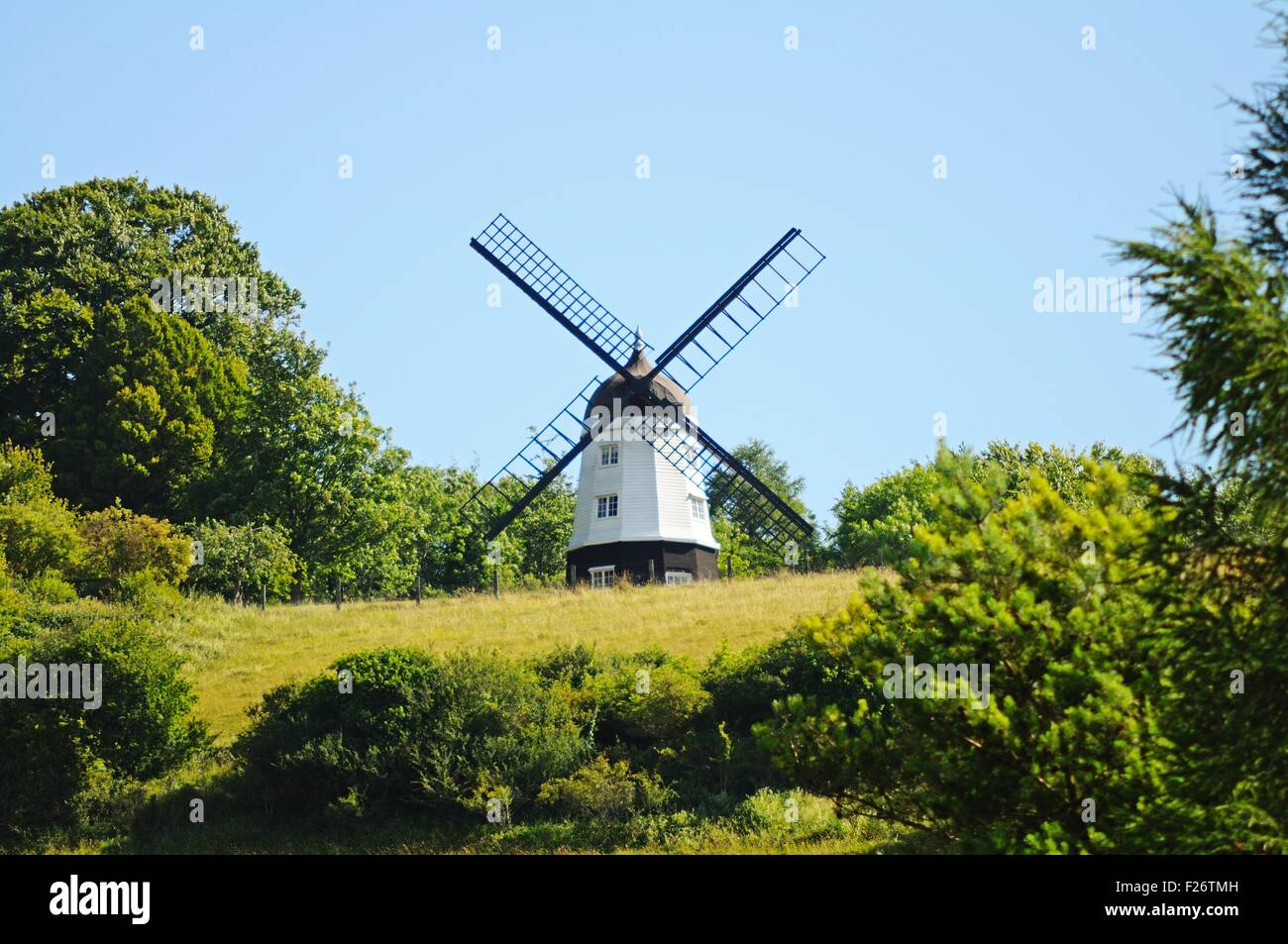 Cobstone Mill at Ibstone seen from Turville village, Turville, Buckinghamshire, England, UK, Western Europe. - Stock Image