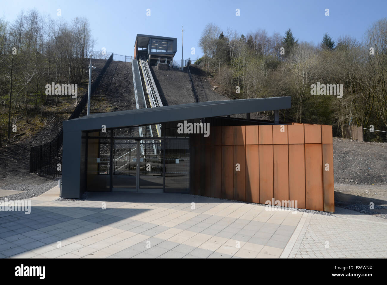 The new funicular cliff railway installed on the site of the old Ebbw Vale Steelworks which is being redevoloped - Stock Image