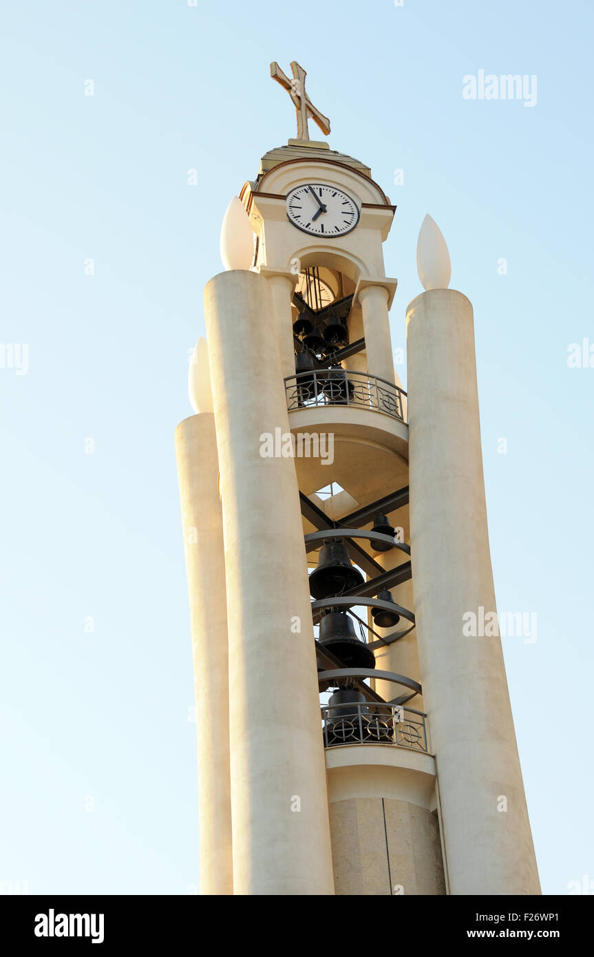 The bell and clock tower of the Resurrection of Christ Orthodox Cathedral of Tirana. Triana, Albania. - Stock Image