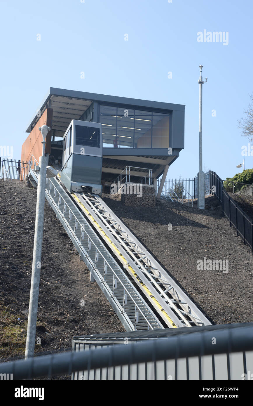 The new funicular cliff railway installed on the site of the old Ebbw Vale Steelworks which is being redeveloped - Stock Image
