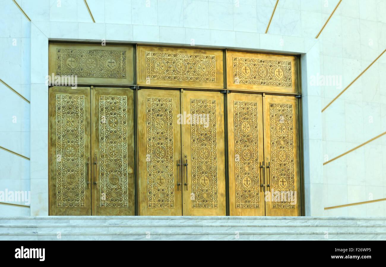 The main doors of the Resurrection of Christ Orthodox Cathedral of Tirana. Triana, Albania. - Stock Image