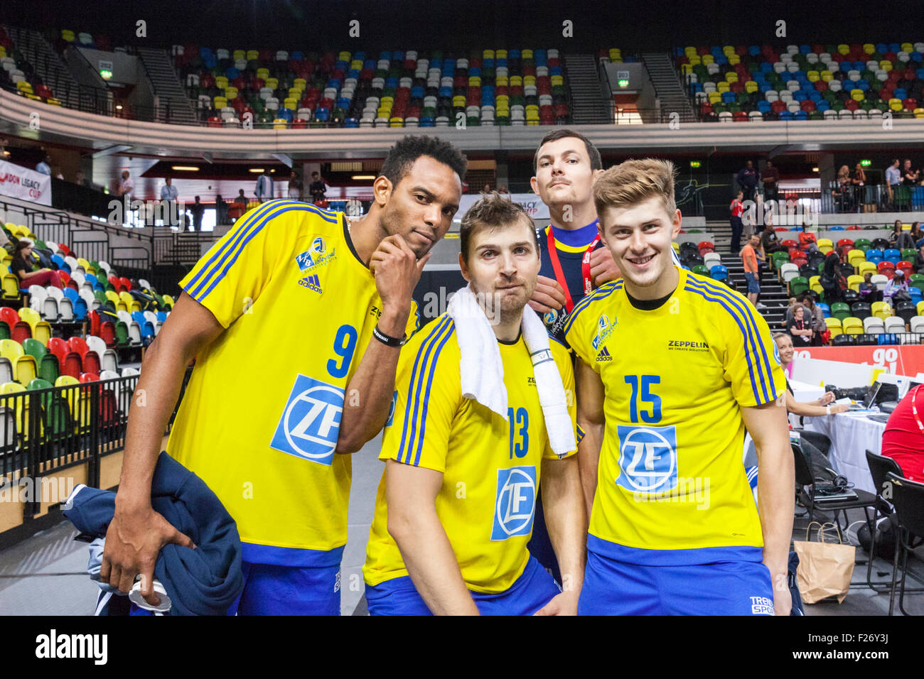 Copper Box Arena, London, UK. 12th Sep. 2015. VfB's Marc Anthony Honore (9), Adrian Gontariu (13) and Robert - Stock Image