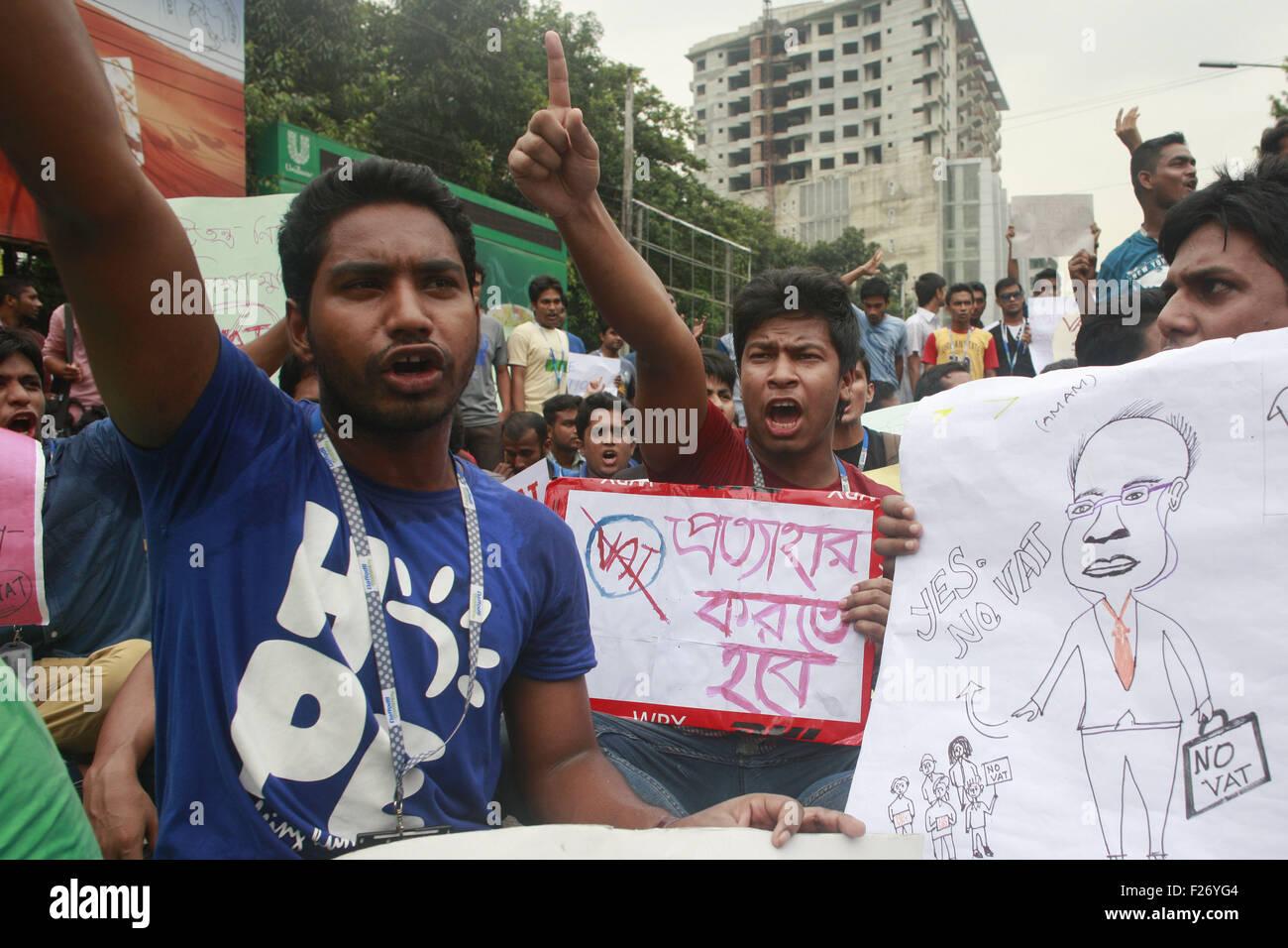 Dhaka, Bangladesh  13th Sep, 2015  Bangladeshi students shout