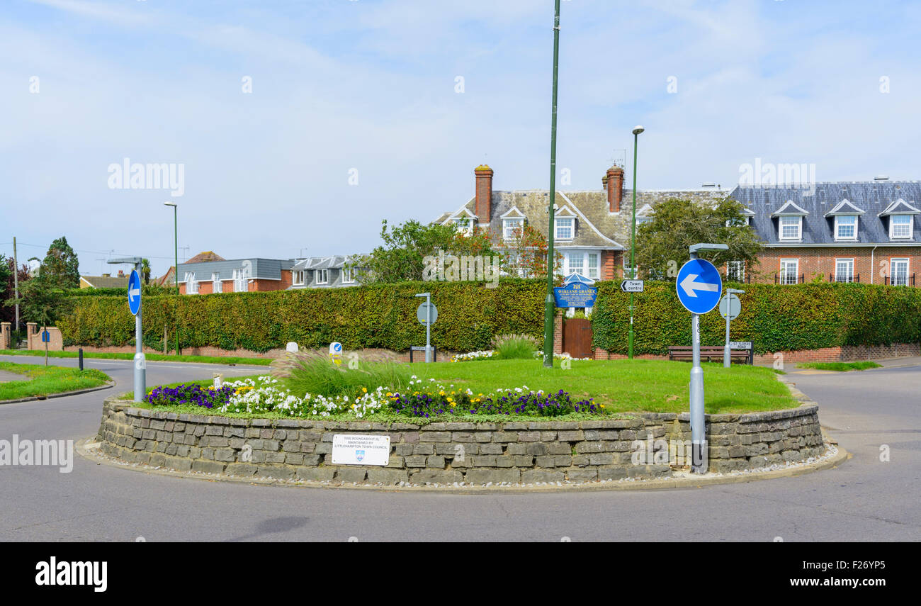 Roundabout at a road junction in England, UK. - Stock Image