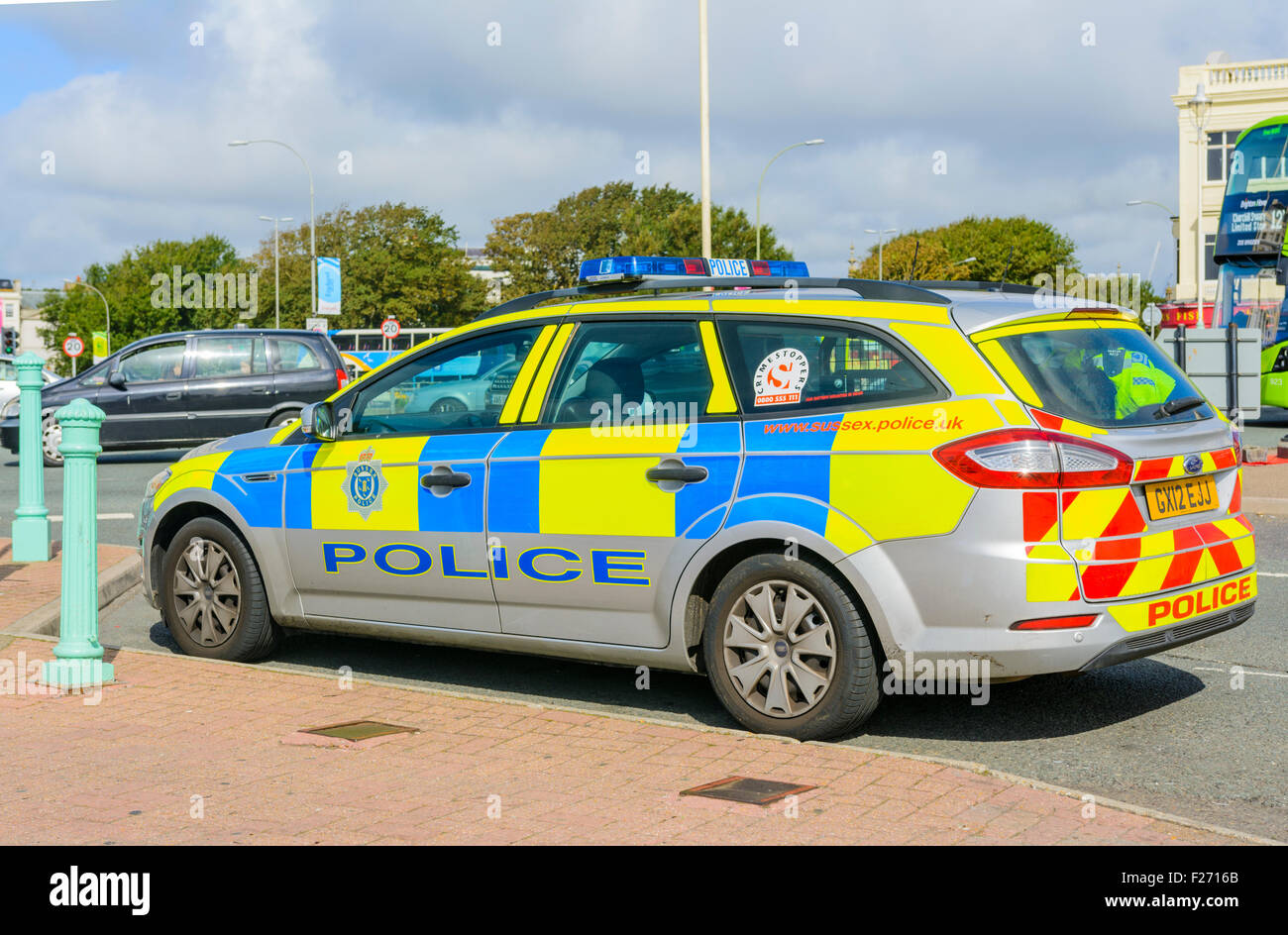 Sussex Police car parked by the roadside in Brighton, East Sussex, England, UK. - Stock Image