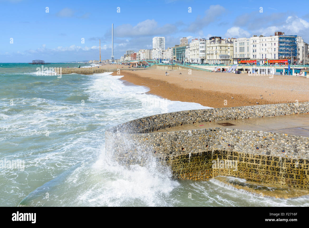 Brighton seafront. View along the seafront at Brighton, East Sussex, England, UK. Brighton coastline. Brighton seaside - Stock Image