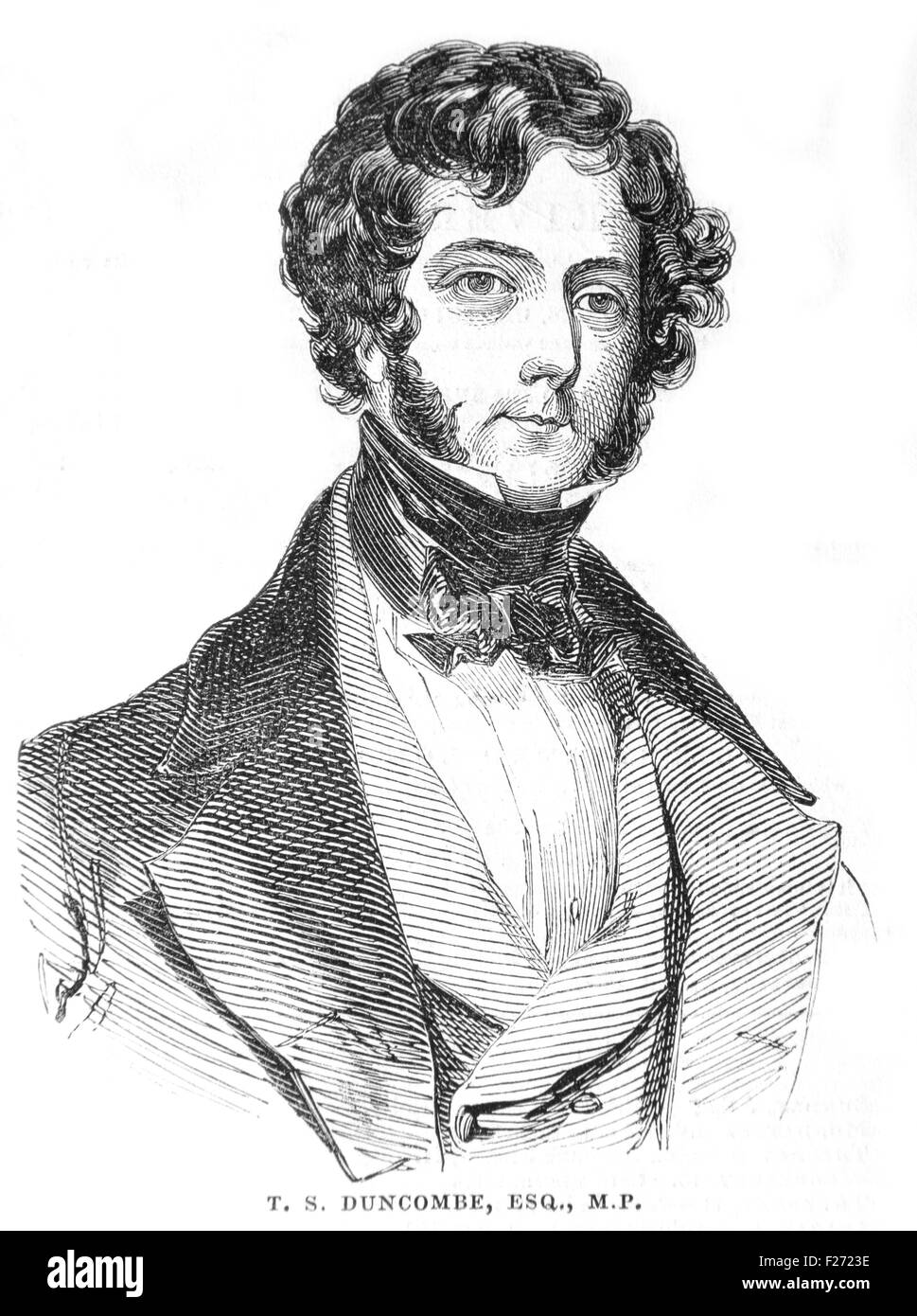 Thomas Slingsby Dumcombe MP for Finsbury 1796 - 1861; Illustrated London News July 1844; Black and White Illustration; - Stock Image
