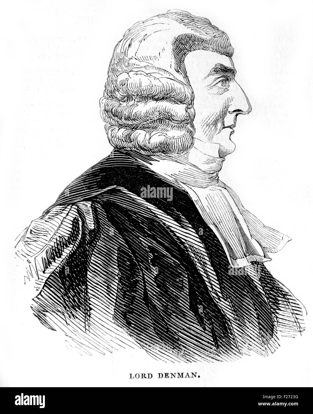Lord Denman, Lord Chief Justice, 1832 to 1850. Illustrated London News July 1844; Black and White Illustration; - Stock Image