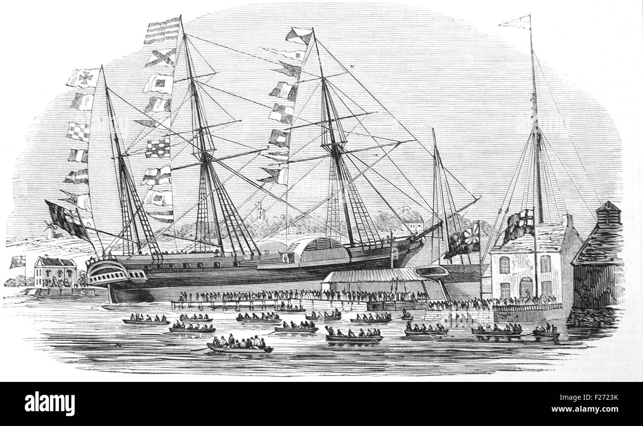 Launch of the Braganza P&O paddle steamer at Cowes, Isle of Wight 1844. Black and White Illustration; - Stock Image