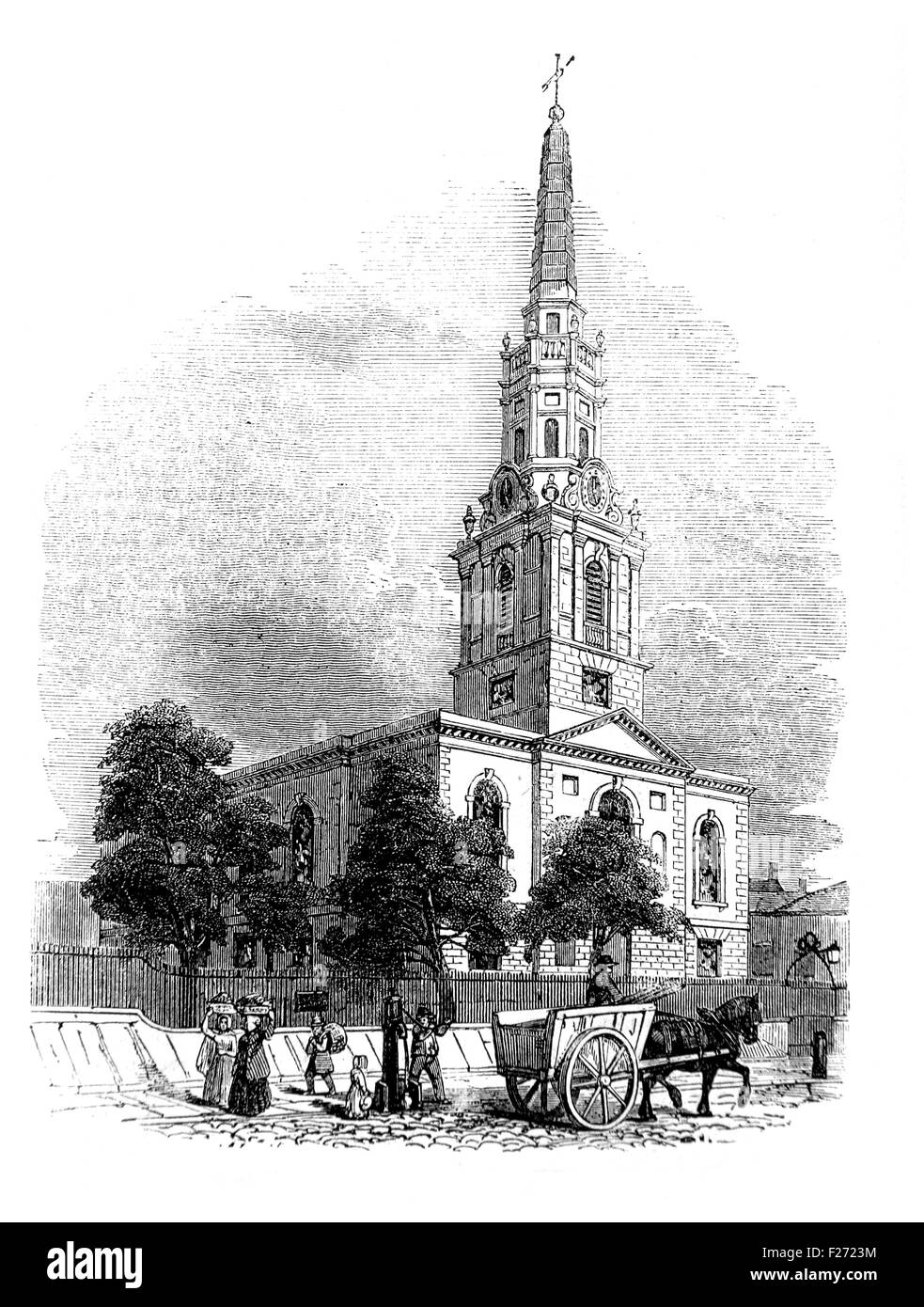 St Giles in the Fields Church Illustrated London News July 1844; Black and White Illustration; - Stock Image