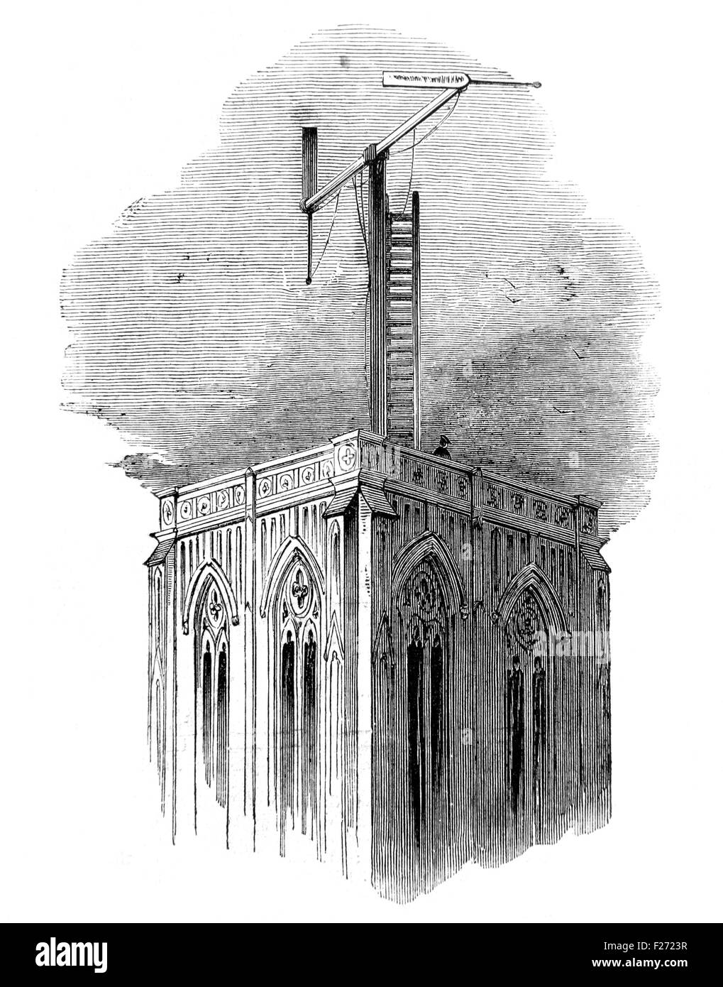 Semaphore telegraph system used to send abstract of the Indian Mail from Marseille to Paris, Illustrated London Stock Photo