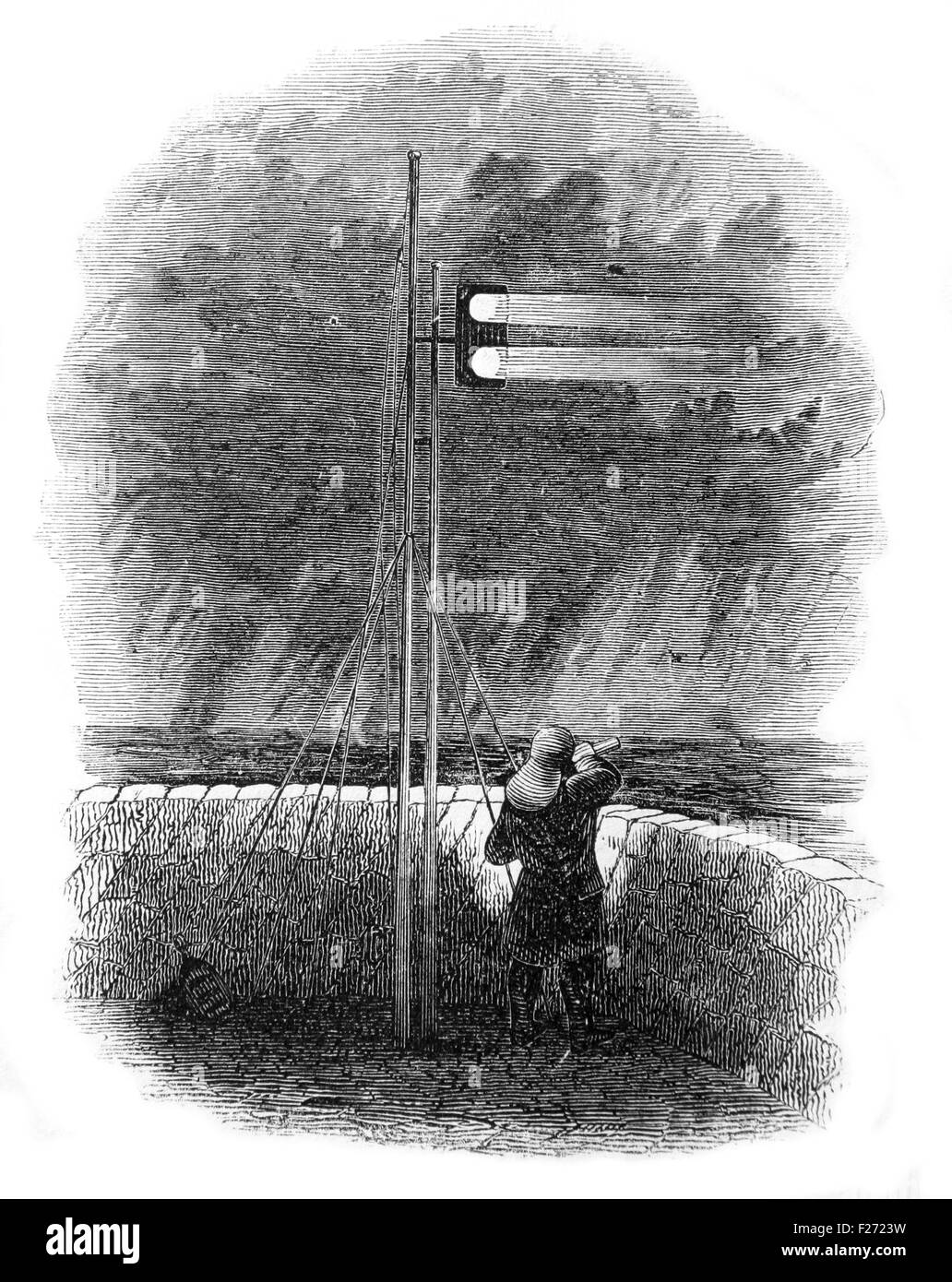 Indian Mail Signals at Folkestone. Illustrated London News July 1844; Black and White Illustration; - Stock Image