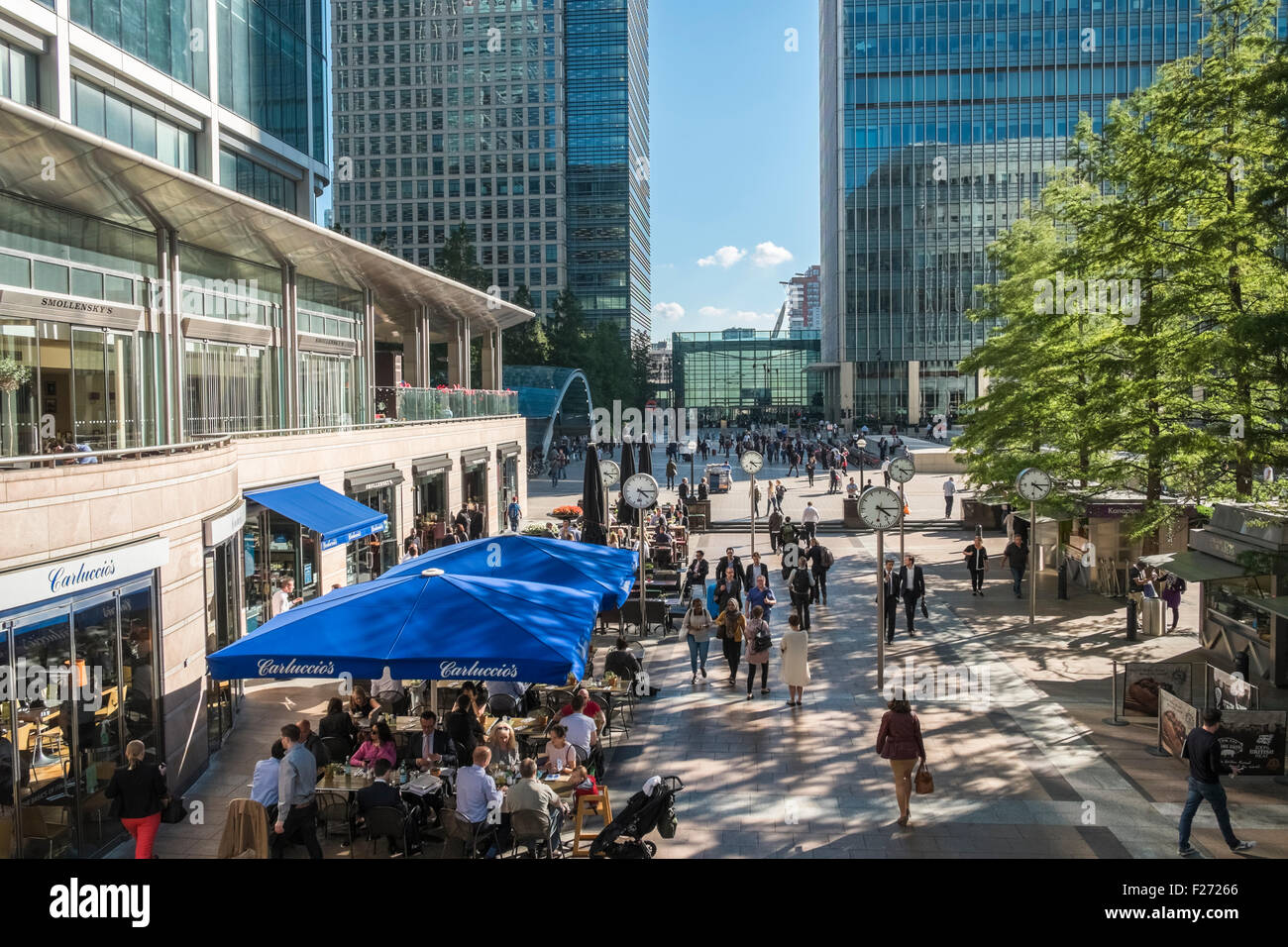 Pedestrianised area of Reuters Plaza, Canary Wharf financial district, London, England UK - Stock Image