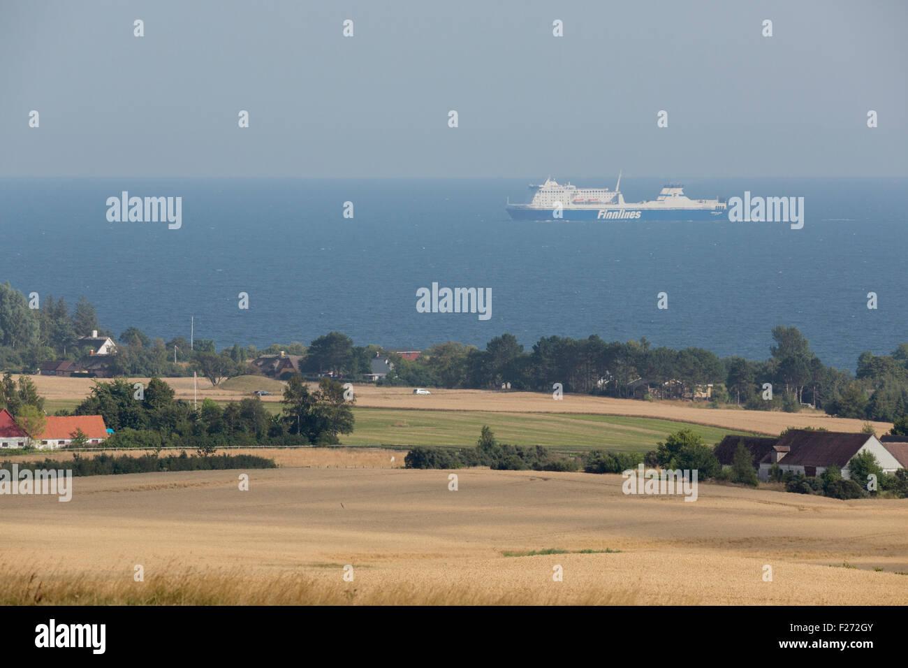 A Finnlines Star Class vessel seen from the hills of Møn, Denmark - Stock Image