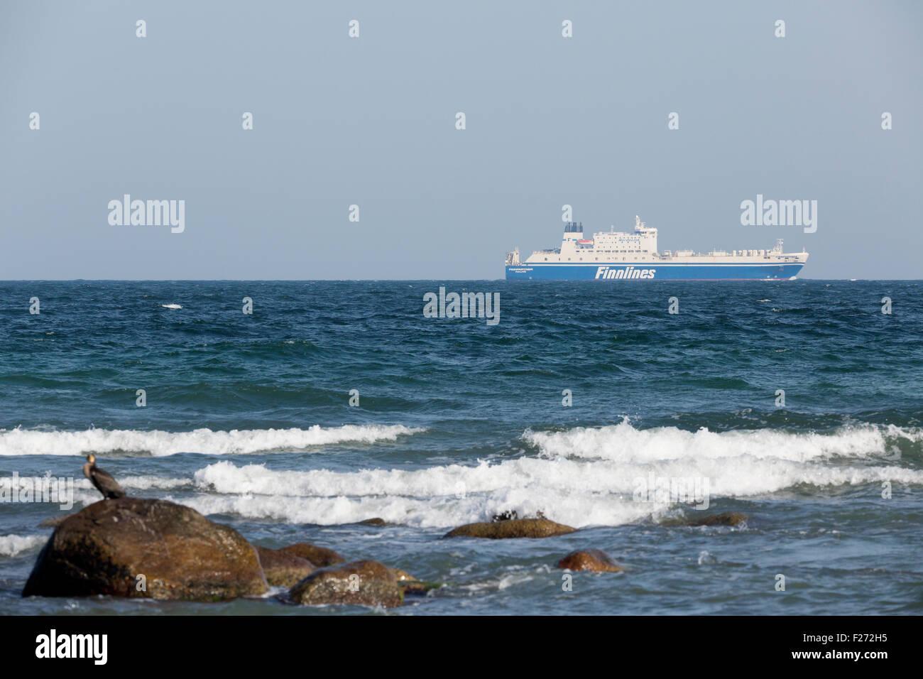A Finnlines Hansa Class vessel off Møn, Denmark - Stock Image