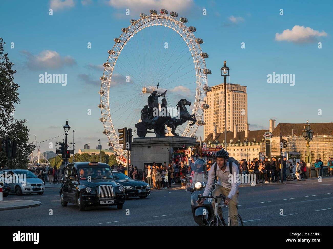 London Eye viewed from popular tourist spot near Westminster Bridge, London, England UK Stock Photo