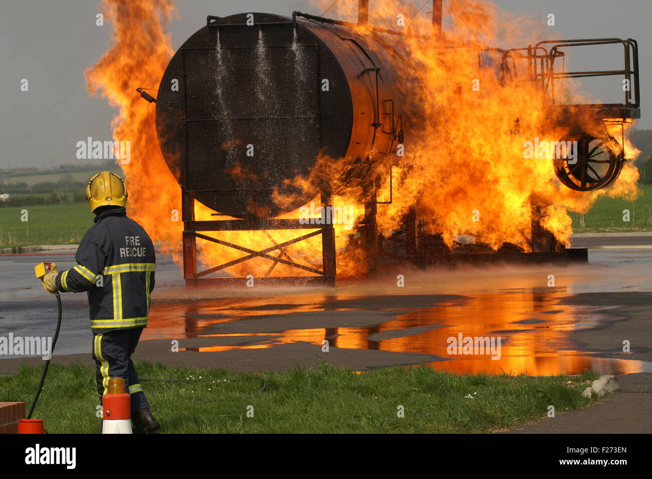 fire fighter at large incident - Stock Image