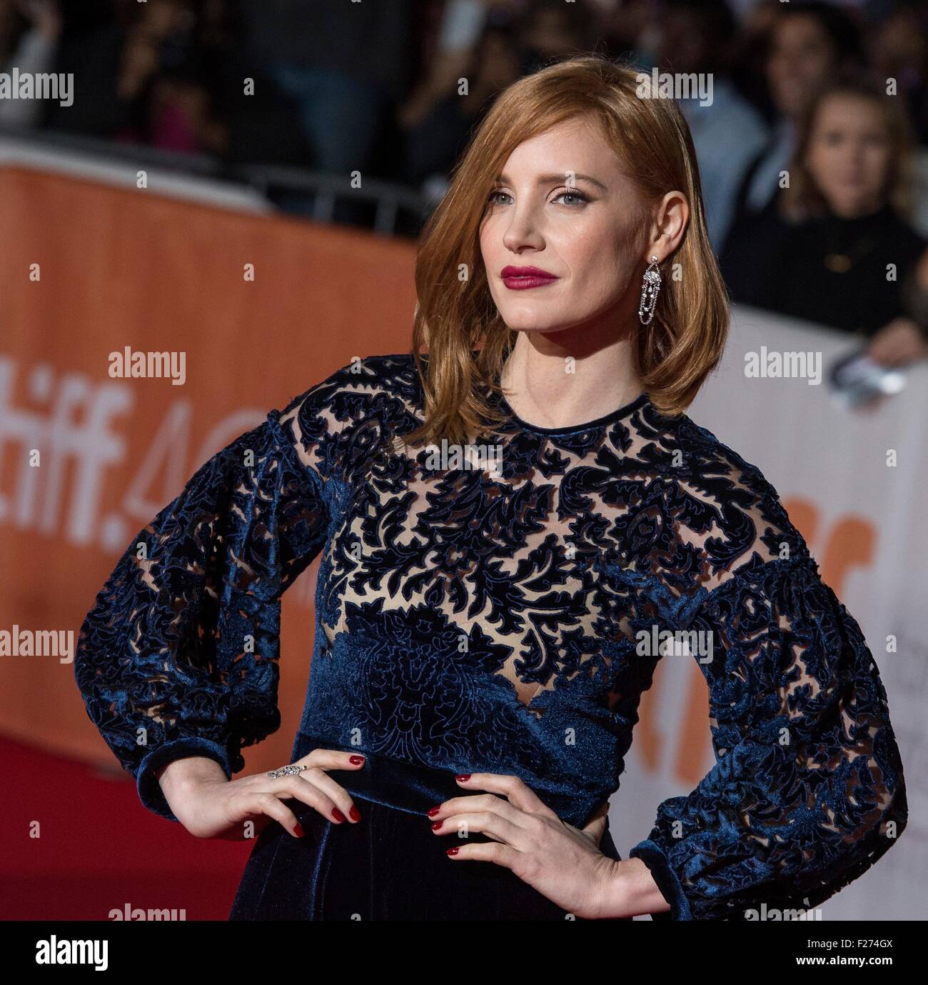 Actress Jessica Chastain attends the world premiere for The Martian at the Toronto International Film Festival at Stock Photo