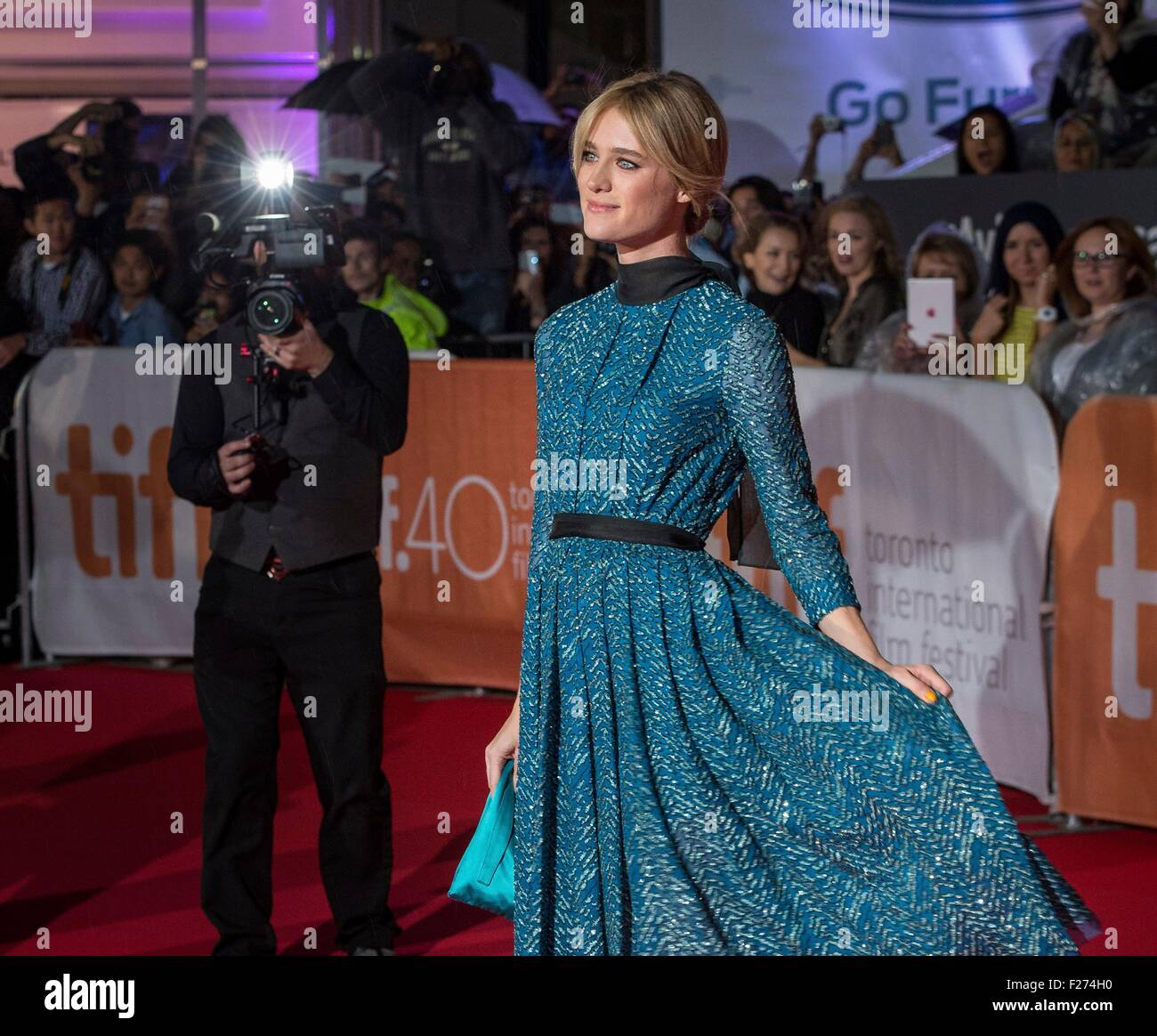 Actress Mackenzie Davis attends the world premiere for The Martian at the Toronto International Film Festival at - Stock Image
