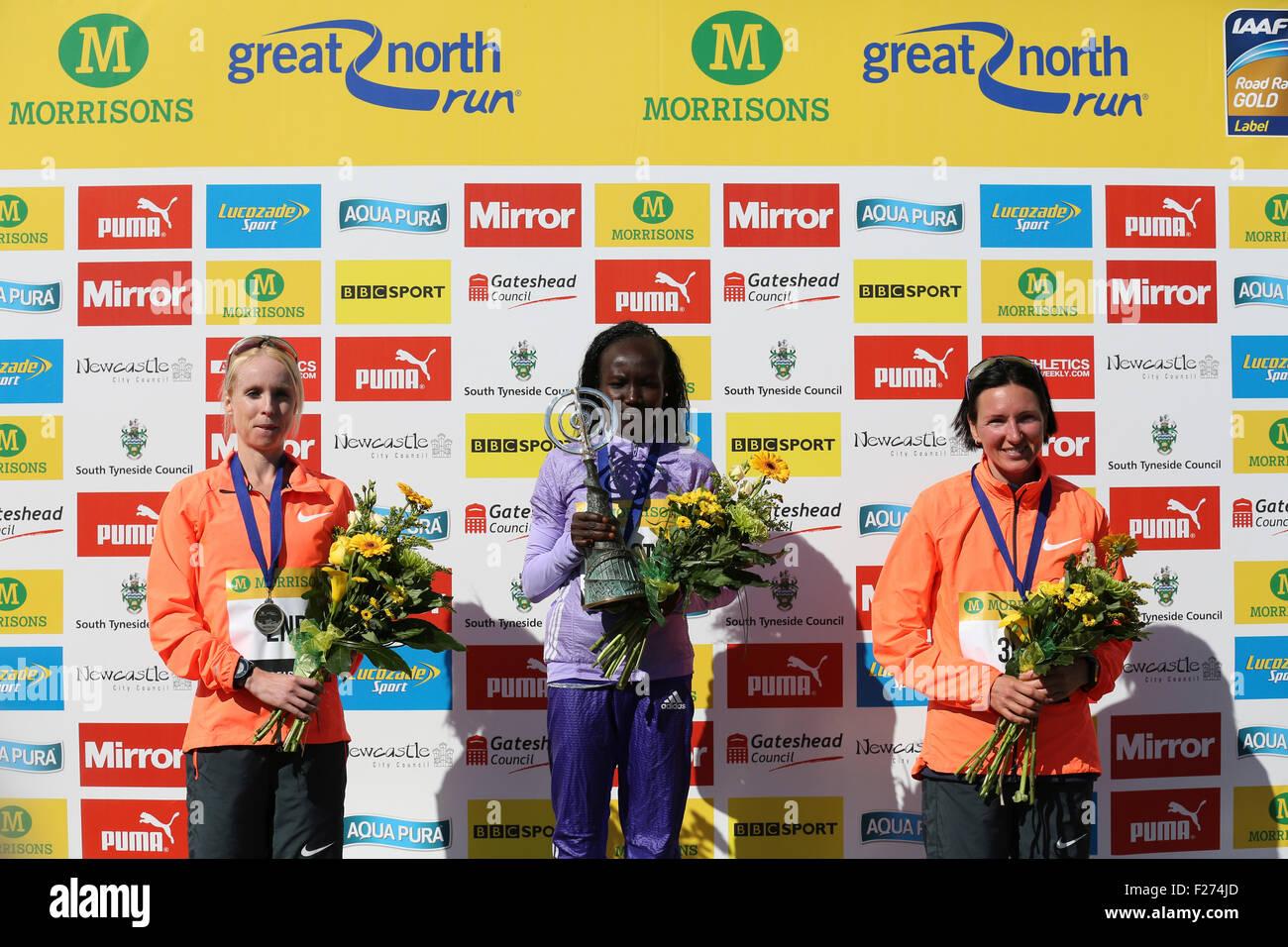 South Shields, UK. 13th Sep, 2015. Gemma Steel (GB), Mary Keitany (Kenya) and Jelena Prokopcuka (Latvia) the top Stock Photo
