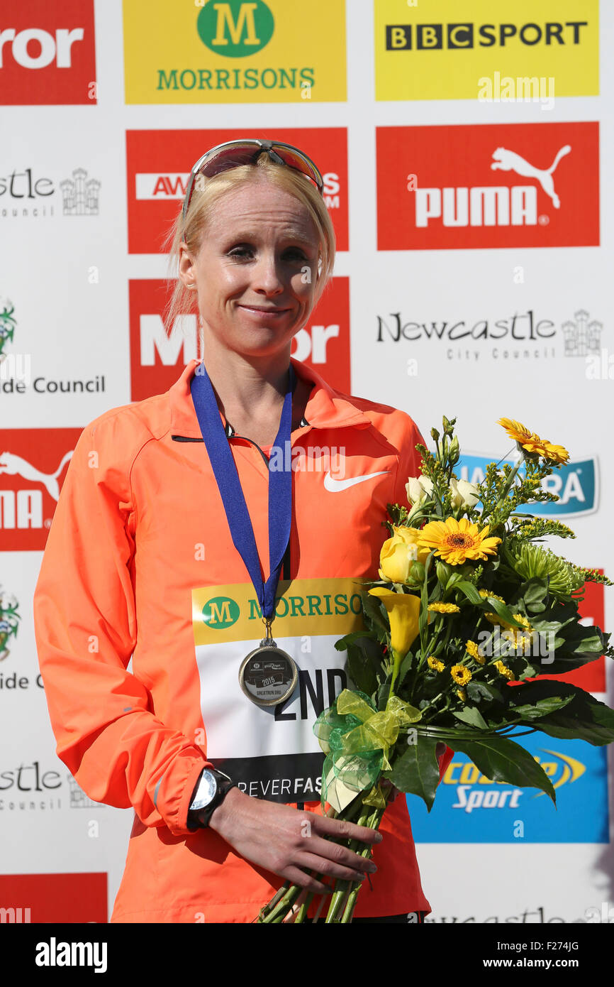 South Shields, UK. 13th Sep, 2015. Gemma Steel, 2nd place in the women's elite race at the Great North Run, in South Stock Photo